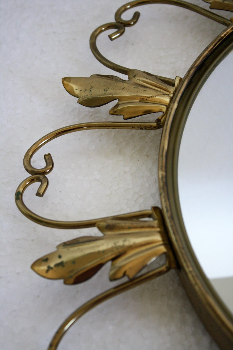 Vintage Brass Sunburst Mirror, 1960s In Excellent Condition For Sale In Neervelp, BE