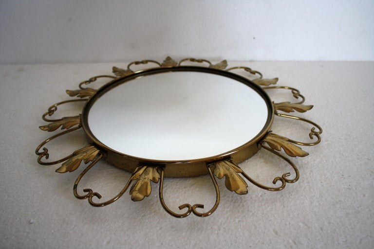 Mid-20th Century Vintage Brass Sunburst Mirror, 1960s For Sale