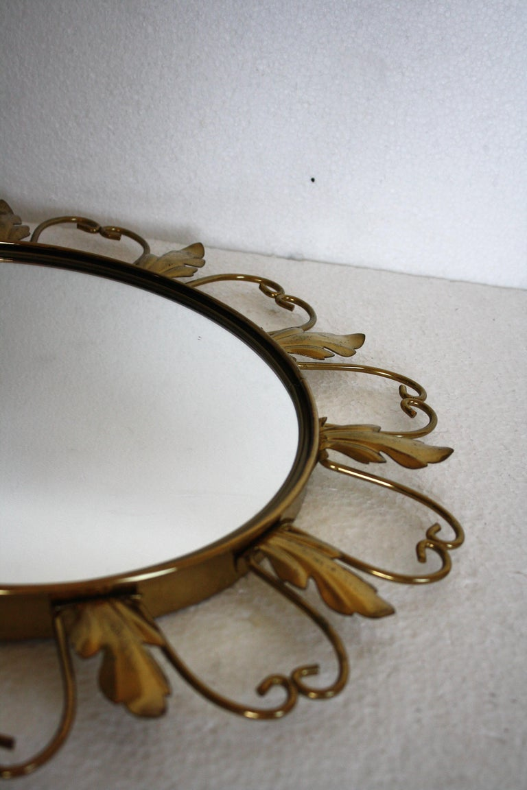 Vintage Brass Sunburst Mirror, 1960s For Sale 1