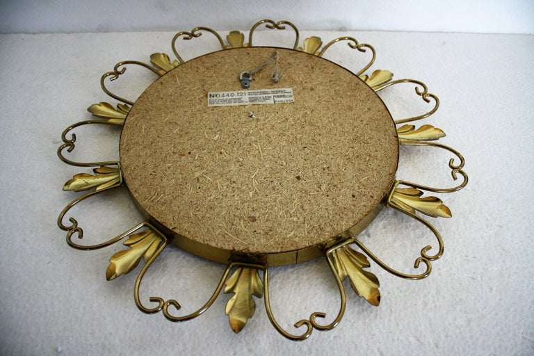 Vintage Brass Sunburst Mirror, 1960s For Sale 2