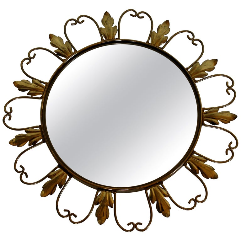 Vintage Brass Sunburst Mirror, 1960s For Sale