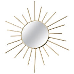 Vintage Brass Sunburst Mirror, 1960s, France