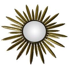Vintage Brass Sunburst Mirror 1960s, France