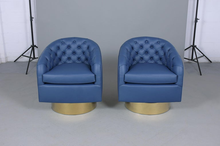 Plated Milo Baughman Style Swivel Lounge Chairs For Sale