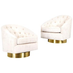 Vintage Brass Swivel Lounge Chairs Attributed to Milo Baughman