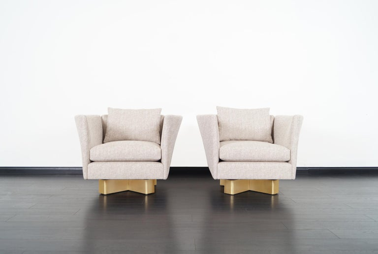 Mid-Century Modern Vintage Brass Swivel Lounge Chairs by Hayes For Sale