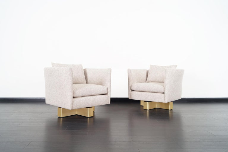 Vintage Brass Swivel Lounge Chairs by Hayes In Good Condition For Sale In Burbank, CA