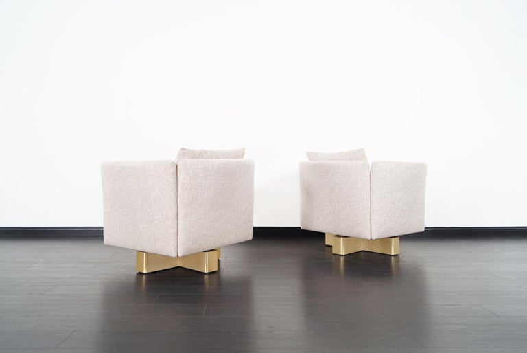 Late 20th Century Vintage Brass Swivel Lounge Chairs by Hayes For Sale