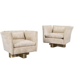 Vintage Brass Swivel Lounge Chairs by Hayes