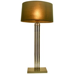 Vintage Brass Table Lamp by Willy Rizzo for De Knudt, 'Numbered 3784', 1970s
