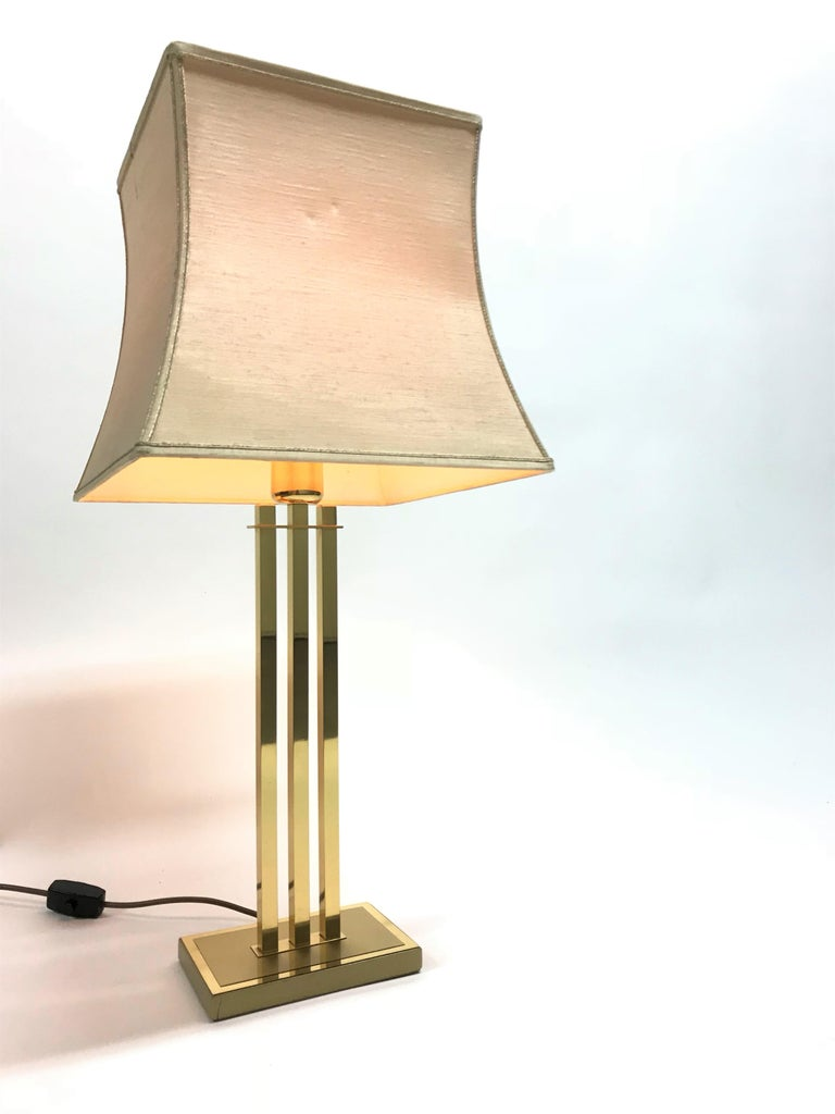Vintage Brass Table Lamp by Willy Rizzo for Deknudt, 1970s For Sale 5