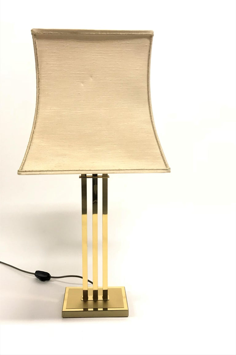 Hollywood Regency Vintage Brass Table Lamp by Willy Rizzo for Deknudt, 1970s For Sale