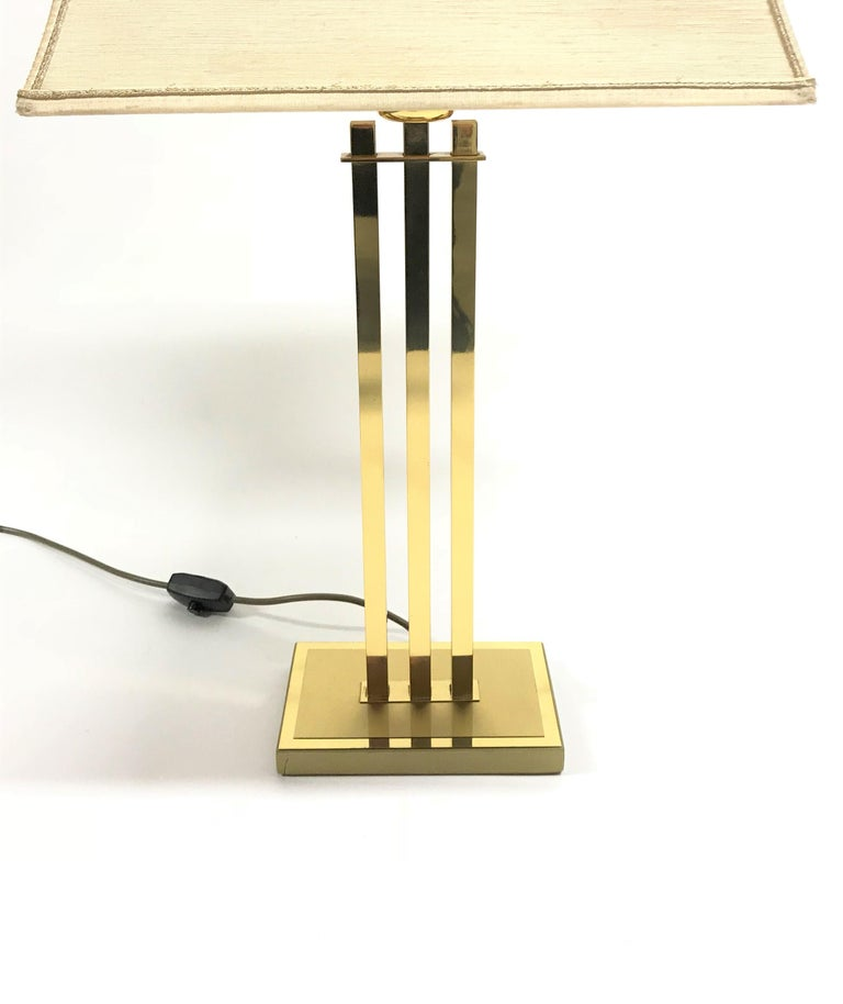 Belgian Vintage Brass Table Lamp by Willy Rizzo for Deknudt, 1970s For Sale