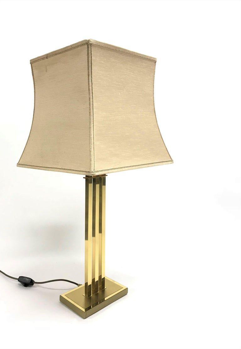 Late 20th Century Vintage Brass Table Lamp by Willy Rizzo for Deknudt, 1970s For Sale