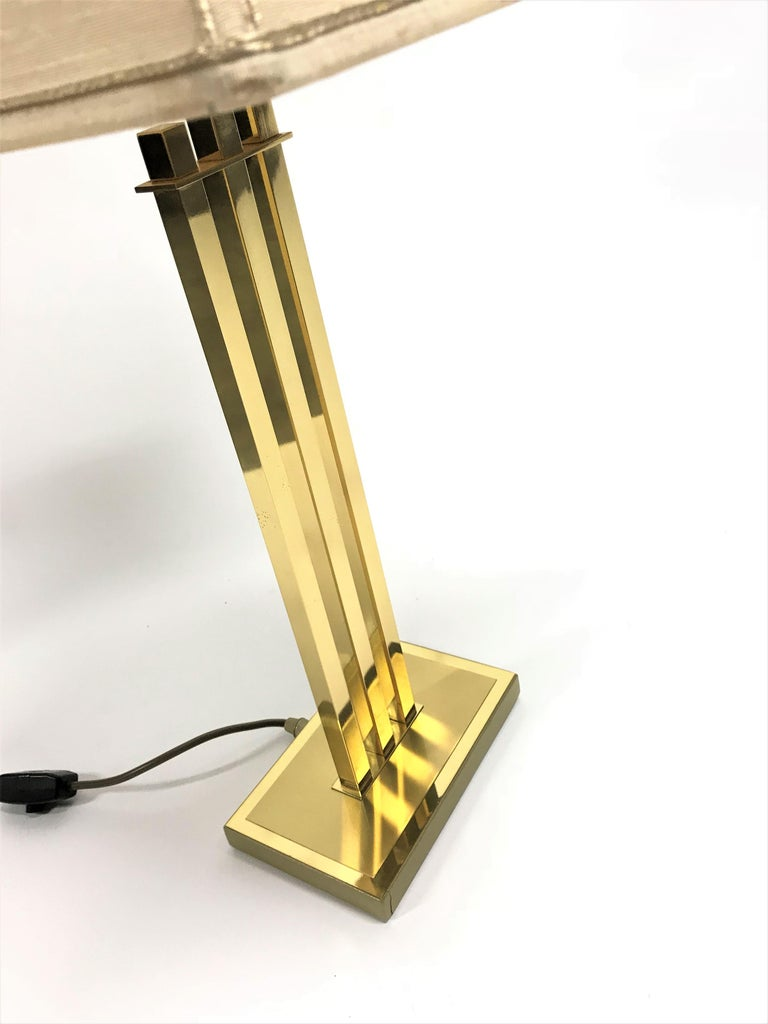 Vintage Brass Table Lamp by Willy Rizzo for Deknudt, 1970s For Sale 1