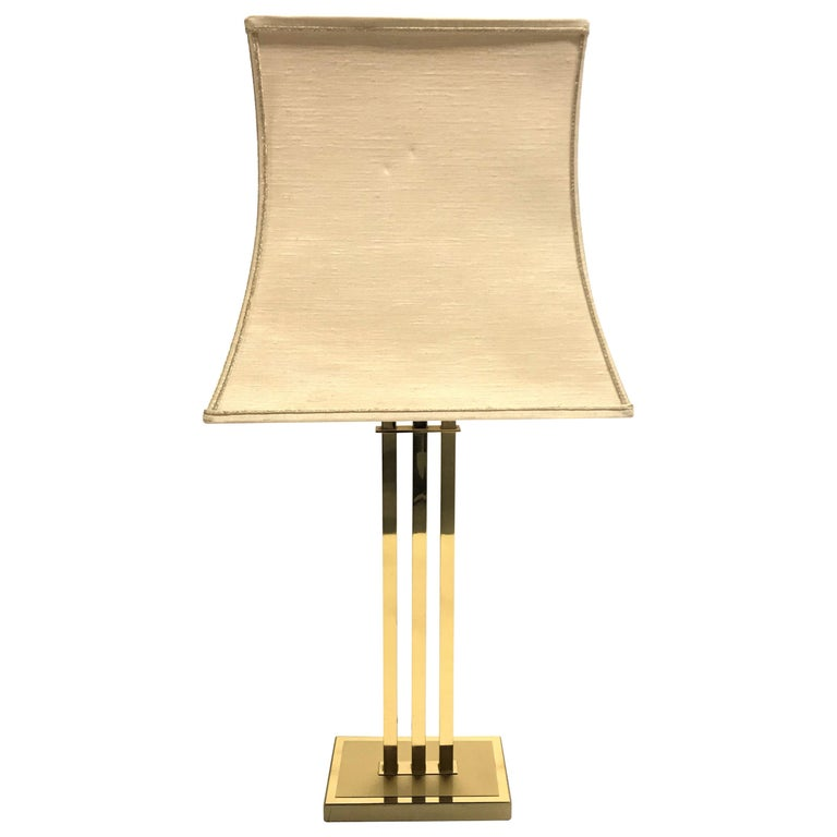 Vintage Brass Table Lamp by Willy Rizzo for Deknudt, 1970s For Sale
