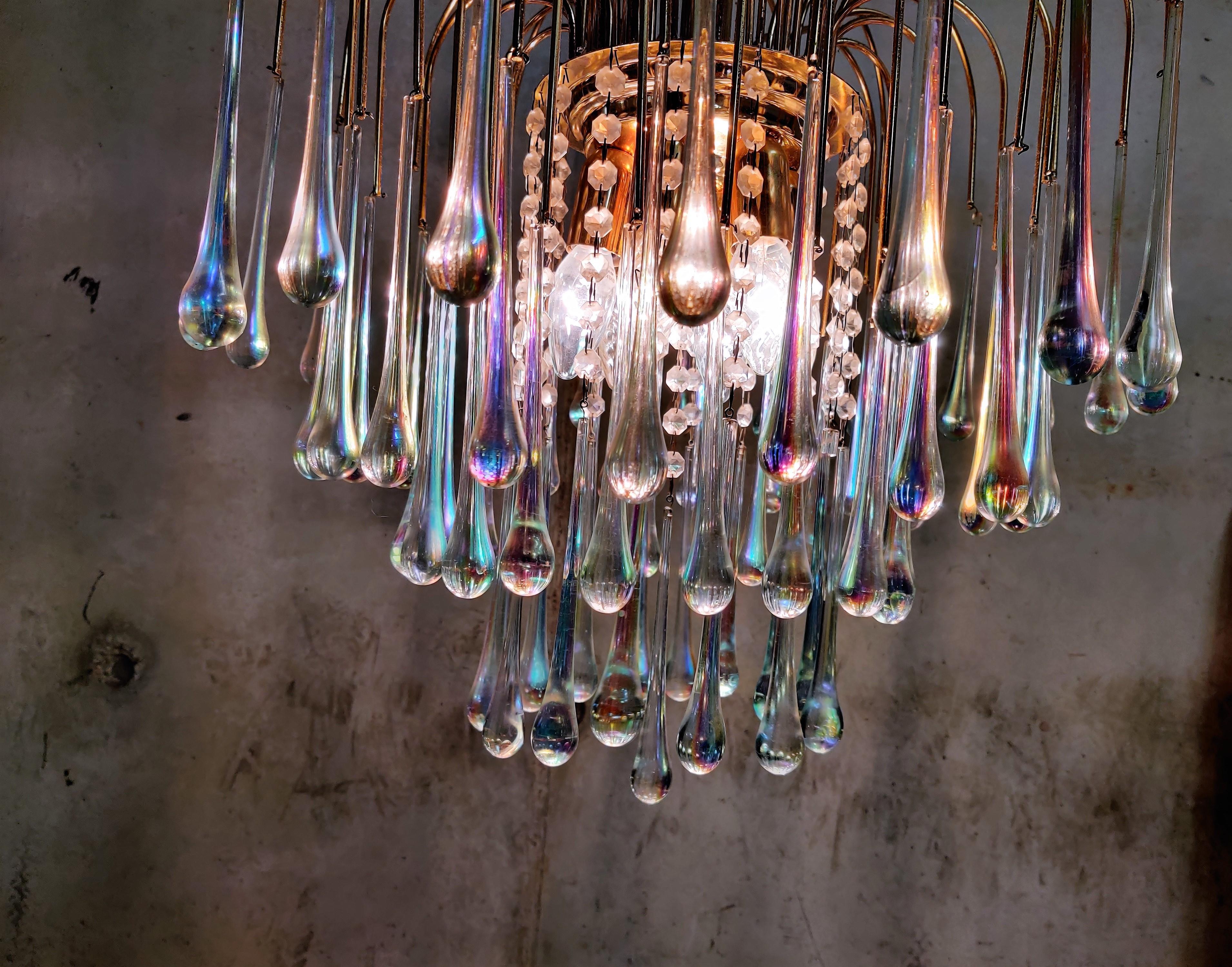 Murano Italian Firework Chandelier Brass Teardrop Glass