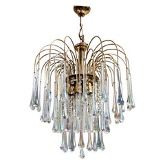 Vintage Brass Teardrop Chandelier with Crystal Murano Glass, 1970s