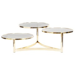 "Vintage Brass ""Tri Level"" Swivel Coffee Table by Milo Baughman"