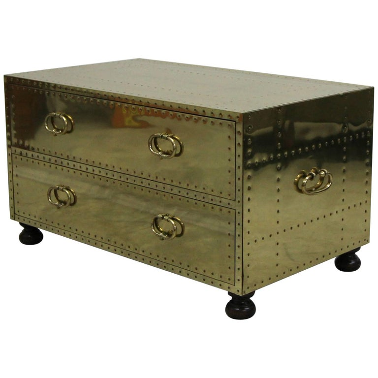 Coffee Table Chest Drawers: Vintage Brass Two-Drawer Chest Coffee Table Made In Spain