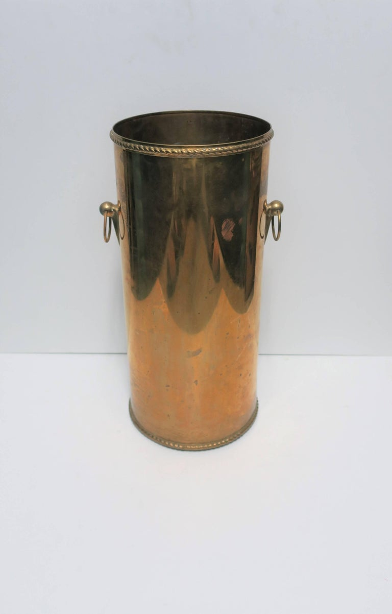 Lacquered Vintage Brass Umbrella Stand For Sale