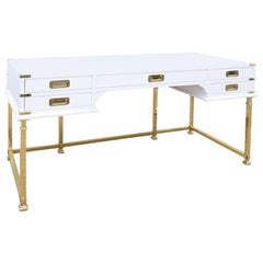 Vintage Brass and White Lacquered Campaign Style Writing Table/Desk