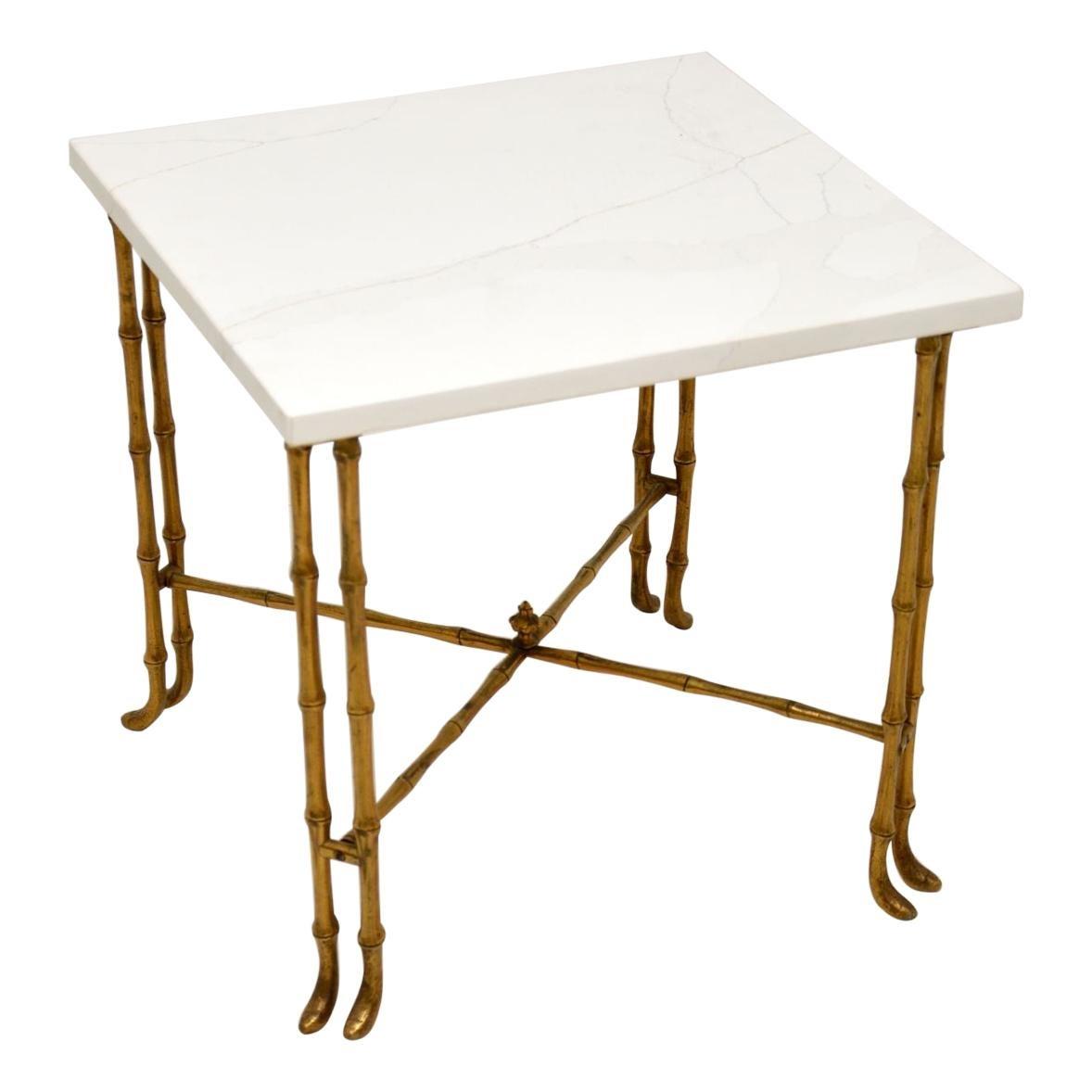 Vintage Brass & White Quartz Side / Coffee Table