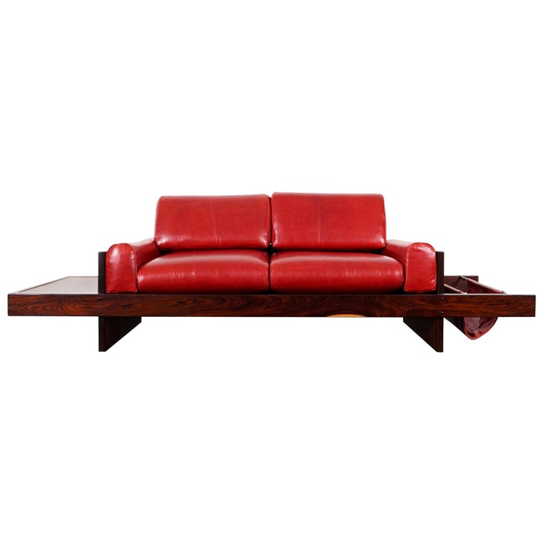 Vintage Brazilian Rosewood and Leather Sofa Attributed to Celina Moveis For Sale