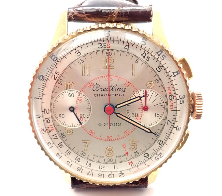 18k yellow gold Chronomat chronograph vintage wristwatch by Breitling. Details:  Case Size: Height w/Lugs: 43mm Width w/o Crown: 36.5mm  Thickness w/ Crystal: 12mm Bracelet/Strap: New Aftermarket Genuine Crocodile Movement: Manual Wind. Movement is