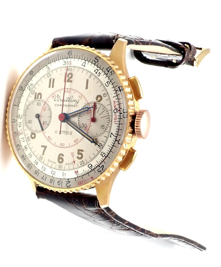 Vintage Breitling Chronomat Chronograph Yellow Gold Watch In Excellent Condition For Sale In Holland, PA