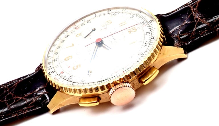 Vintage Breitling Chronomat Chronograph Yellow Gold Watch For Sale 3