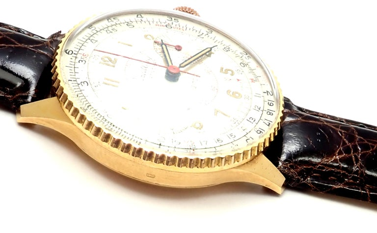 Vintage Breitling Chronomat Chronograph Yellow Gold Watch For Sale 4