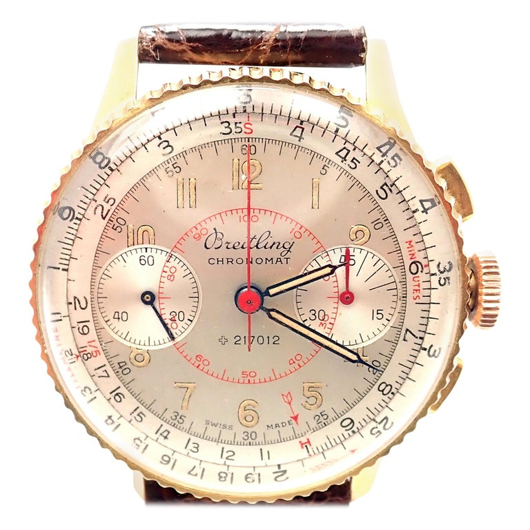 Vintage Breitling Chronomat Chronograph Yellow Gold Watch For Sale