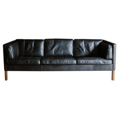Vintage Børge Mogensen Lether Sofa from Denmark, Circa 1970