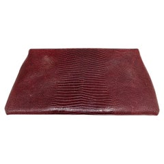 Vintage Brigette Romanek Red Lizard Leather Clutch Evening Purse