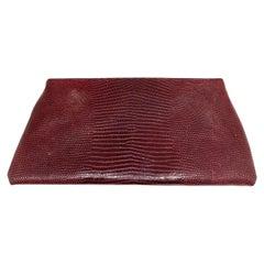Vintage Brigette Romanek Red Lizard Leather Clutch Evening Purse