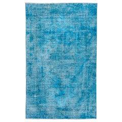 Vintage Bright Blue Overdyed Wool Rug