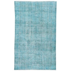 Vintage Bright Turquoise Overdyed Wool Rug