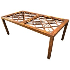 Vintage Brighton Style Burnt Bamboo and Rattan Dining Table