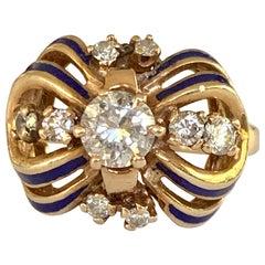 Vintage Brilliant Cut Diamond and Blue Enamel 14 Karat Yellow Gold Ring