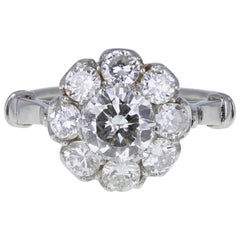 Vintage Brilliant Cut Diamond Daisy Cluster Ring