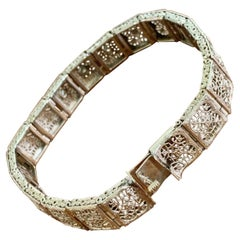 Vintage Brilliant Cut Diamond Filigree 14 Karat White Gold Bracelet