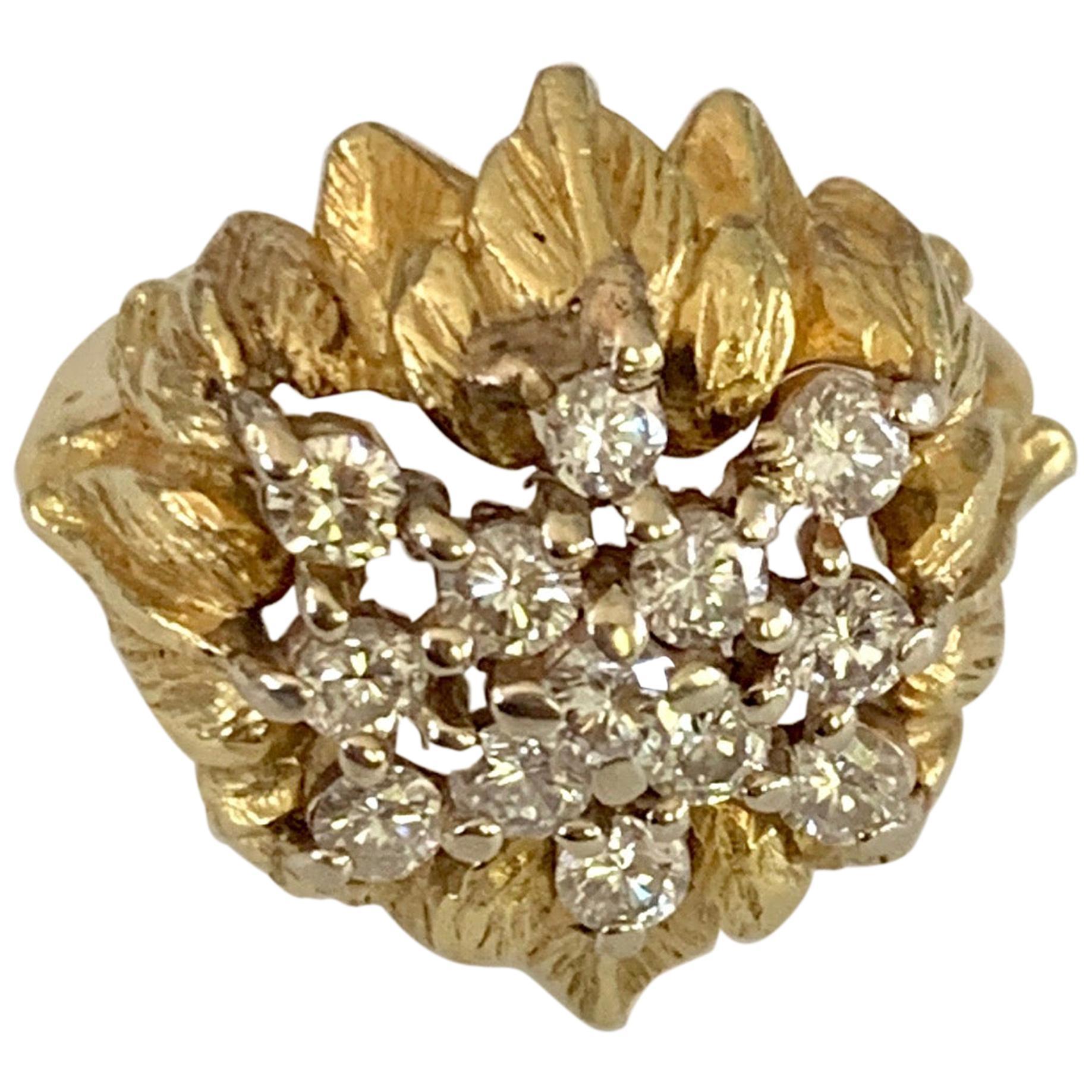 Vintage Brilliant Cut Diamond Floral Dome 18 Karat Yellow Gold Ring