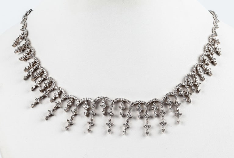 Vintage Briliant diamond multi cross choker necklace in 18k gold  Weights 33,3grams of gold and consists of 513 brilliant diamonds that weigh around 7,50ct.  Legnth size 46cm / 18,11inches   The combination of a very studied design, excellent