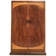 Vintage British Art Deco Walnut Storage Cupboard by CWS Ltd Cabinet Makers