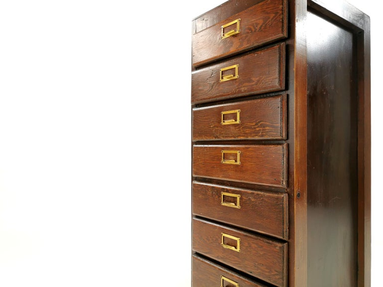 20th Century Vintage British Bank of Eight Drawers Filing Cabinet