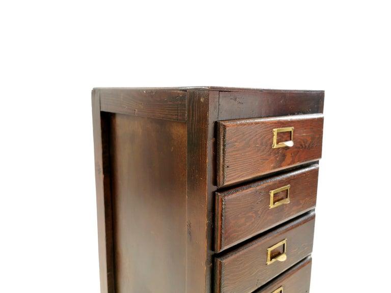 Pine Vintage British Bank of Eight Drawers Filing Cabinet