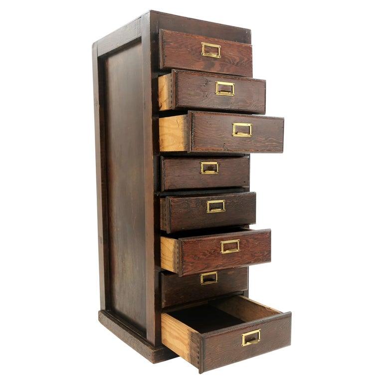 Vintage British Bank of Eight Drawers Filing Cabinet