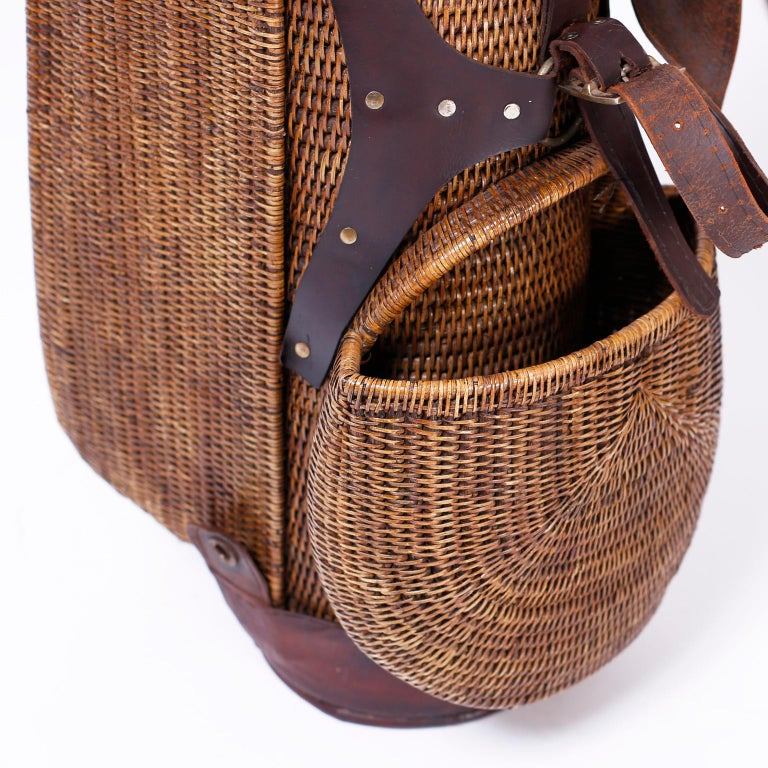 Wicker Vintage British Colonial Style Golf Bag For Sale