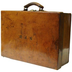 Vintage British Leather Suitcase, circa 1910
